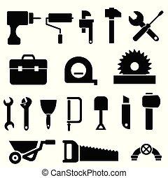 herramienta, negro, iconos