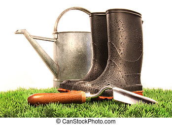 herramienta, regar, jardín, botas, lata