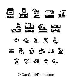 herramienta, robótico, industria, máquina, iconos, conjunto