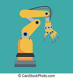 herramienta, robot industrial, mano
