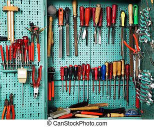 herramienta, taller, gabinete