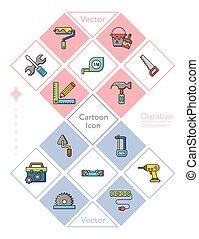 herramienta, vector, conjunto, icono