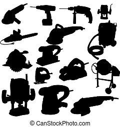 herramienta, vector, silueta, colección, potencia