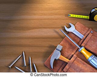 herramientas, él, usted mismo
