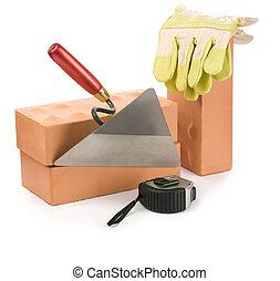 herramientas, aislado, trabajando
