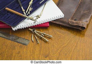 herramientas, arquitectónico, escritorio