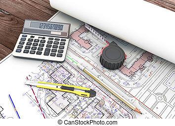 herramientas, arquitecto, dibujos