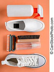 herramientas, blanco, fondo anaranjado, shoes, limpieza