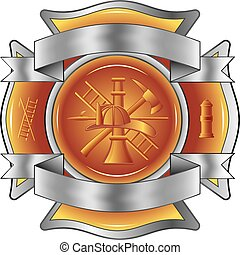 herramientas, bombero, cruz, grabado al agua fuerte
