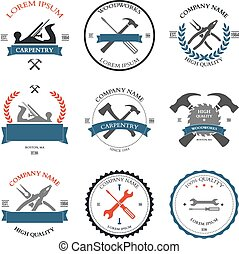 herramientas, carpintería, etiquetas, diseño, vendimia