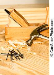 herramientas, carpintero, variedad