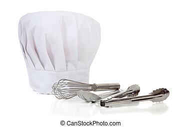 herramientas, chefs, batería de cocina, -