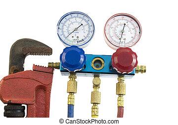 herramientas, condicionamiento, aire