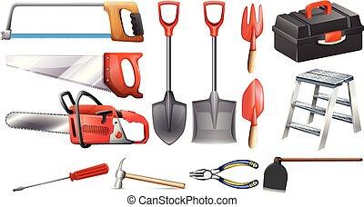 herramientas, conjunto construcción
