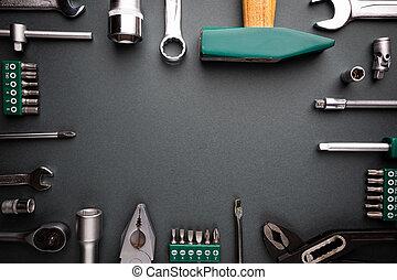 herramientas, conjunto, encima, negro