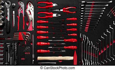 herramientas, conjunto, técnicos, profesional, elegante,...