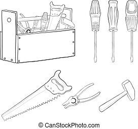 herramientas, contornos, conjunto