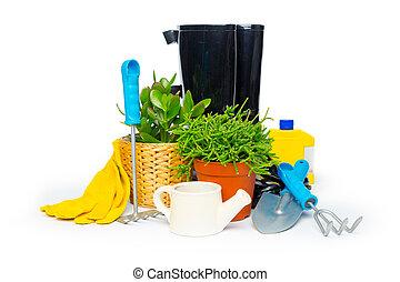 herramientas de jardín, aislado, blanco