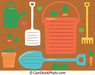 herramientas de jardín, plano de fondo, ilustración