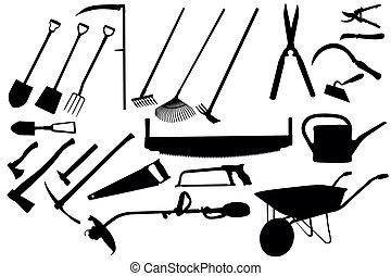 herramientas de jardinería, colección