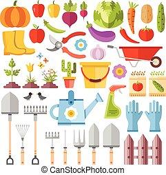 herramientas de jardinería, plano, iconos, conjunto