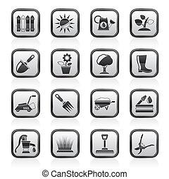 Plantas jardiner a coloreado iconos herramientas for Objetos de jardineria