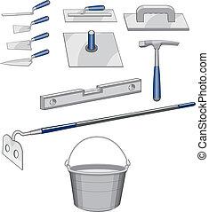 herramientas de la albañilería, albañil