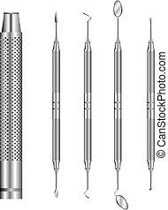 herramientas dentales, vector, ilustración