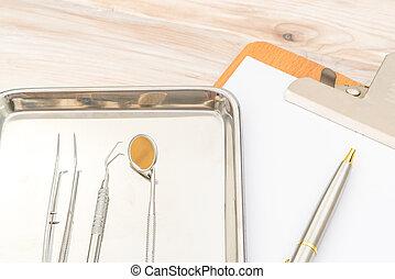 herramientas dentales, y, equipo