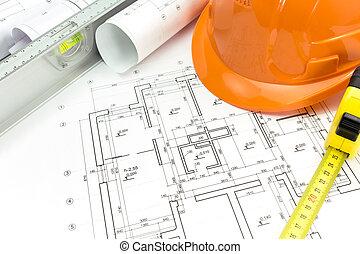 herramientas, dibujos, arquitectónico