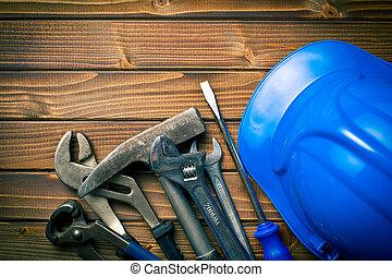 herramientas, duro, vario, trabajando, sombrero