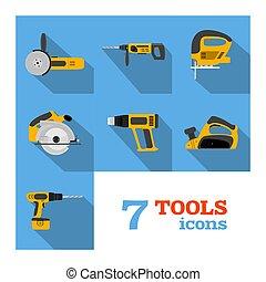 herramientas, eléctrico, iconos