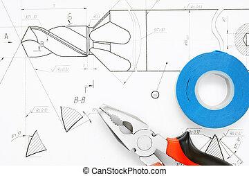 herramientas, en, dibujo, .