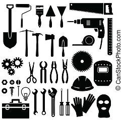 herramientas, icono, blanco, plano de fondo
