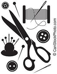 herramientas, iconos, costura