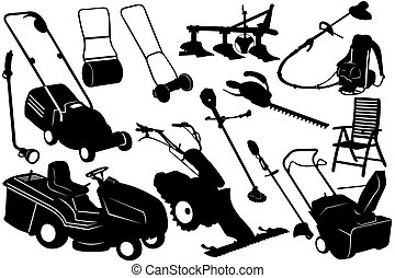 herramientas, jardinería, ilustración