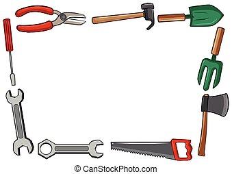 herramientas, marco, diseño, muchos