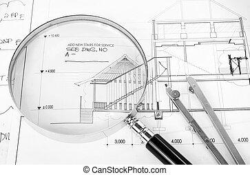 herramientas, para, arquitectónico, proyecto