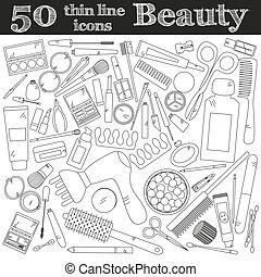 herramientas, para, makeup., conjunto, de, 50, cosmético, iconos, en, delgado, línea.