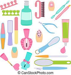herramientas, pedicura, manicura
