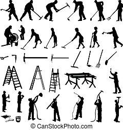 herramientas, personas trabajo
