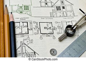 herramientas, plan, arquitectónico