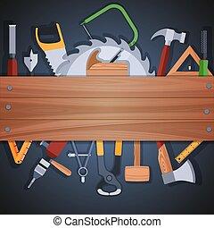 herramientas, plano de fondo, carpintería