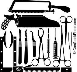 herramientas quirúrgicas, siluetas