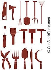 herramientas, reparación, jardín, aislado