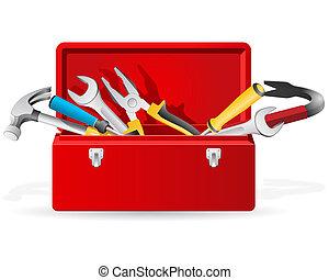 herramientas, rojo, caja de herramientas