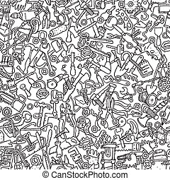 herramientas, seamless, patrón, en, negro y blanco