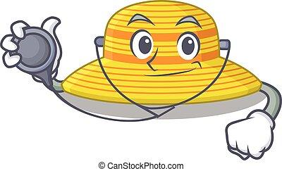 herramientas, sombrero, verano, carácter, doctor, smiley, caricatura