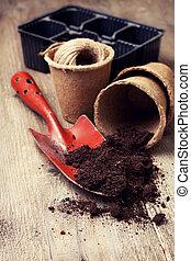 herramientas, suelo, turba, jardín, ollas, plantación