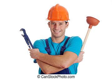 herramientas, tenencia, hidráulico, hombre